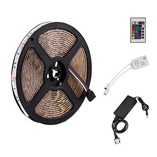 Yasolote, Sprachsteuerung LED Streifen, RGB LED Lichtband mit Stecker, Wasserdicht 300 LED 5M Dimmer LED Strip, Farbwechsel IR Fernbedienung, Deko LED Band für HDTV, Fernseher, Zimmerbeleuchtung