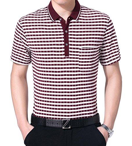 SOGXBUO Herren Button-down Poloshirt Rot