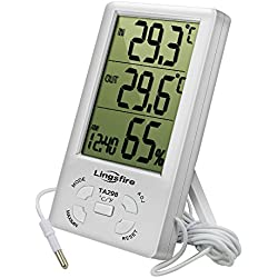 LingsFire Thermomètre Intérieur Extérieur, Thermomètre Hygromètre Digital, LCD Thermo-hygromètre avec Horloge, Min/Max Records, °C/°F Commutateur, Moniteur de Température et d'humidité