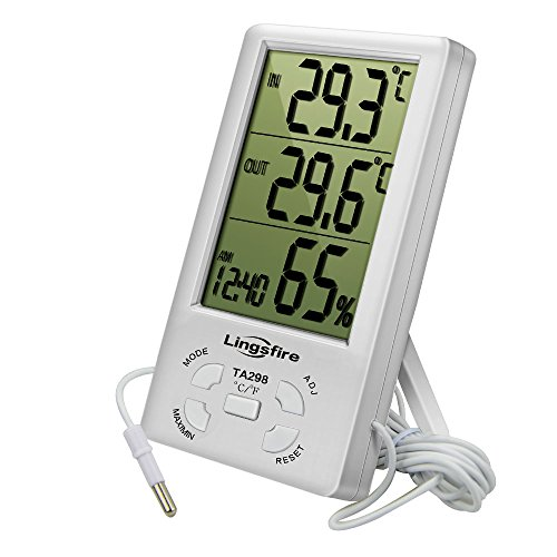 Preisvergleich Produktbild LingsFire Digital LCD Innen/Außen-Thermometer Hygrometer mit Maximale/Minimale Temperatur und Luftfeuchtigkeit Werte, mit Uhr und Alarm für innen- und außentemperatur Messung (TA298 weiß)