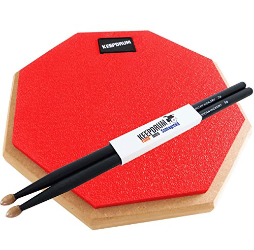 keepdrum-dp-rd-practice-pad-rosso-drum-pad-8-mm-filettatura-1-paio-5bb-custodia-black-drum-sticks