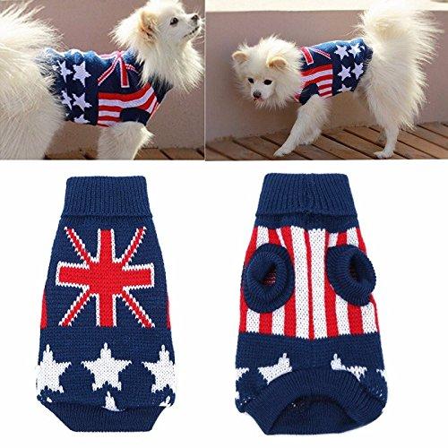 Tutoy Union Jack Haustierbekleidung Hund Katze Welpen Winter Warm Strick Pullover Mantel Kostüm Kleid Hund Pullover -Xl
