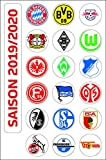 DFL Deutsche Fussball Liga 1. Bundesliga Magnettabelle - Vereinswappen (Saison 2019-2020)