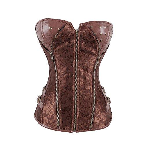 FeelinGirl Damen Vintage Corsage Top Korsett Steampunk Gothic Punk Korsage XL Braun mit Reißverschluss (Brokat Rot Tasche)