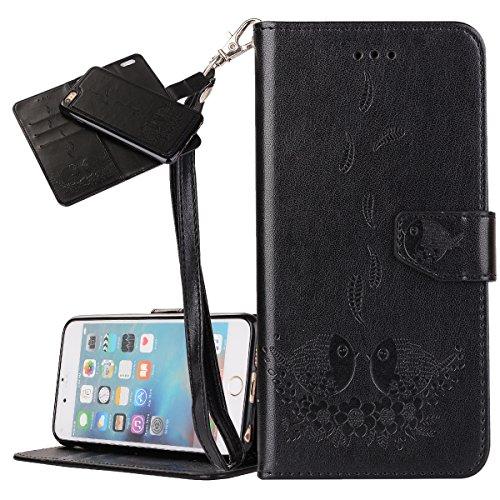 Custodia iPhone 6 Plus, ISAKEN Custodia iPhone 6S Plus, iPhone 6 Plus Flip Cover con Strap, Elegante 2 in 1 Custodia in Sintetica Ecopelle Sbalzato PU Pelle Protettiva Portafoglio Case Cover per Apple Uccelli: nero