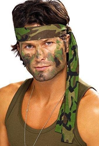 Kostüm-Zubehör 'Rambo Stirnband' Armee-Tarnfarbe - Faschingskostüm-Accessoire für Damen und (Rambo Kostüme)