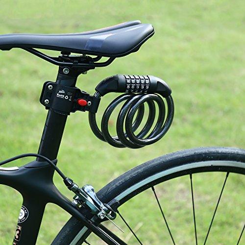 Hihill Fahrradschloss, Fahrradschloss, Fahrradschloss mit zahlencode, Wasserdicht Tragbar 4-Feet x 1/2-Inch für Fahrrad, Tricycle, Scooter, Schwarz (Lock 1/2)