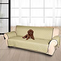 KINLO Cubre sofá/Funda de sofá/Protector para sofás Anti sucio, Evitar el rascado para mascota -- 3 plazas(167cm*165cm),Ambos lados están disponibles(Marrón / Beige)