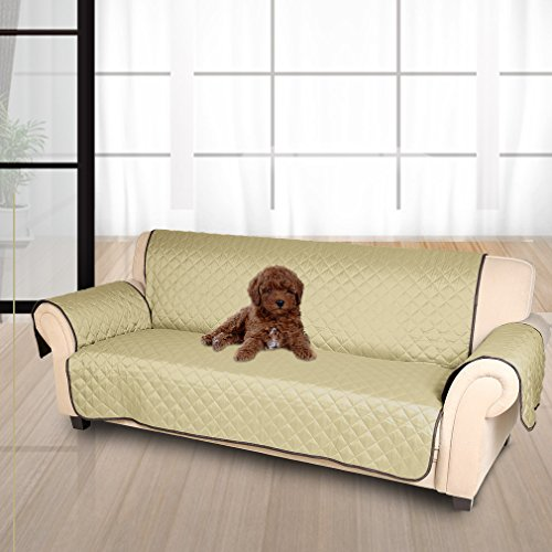 KINLO Covers sofa / Sofa cover / Protector for dirty Anti-scratch sofas, Avoid pet scratching - 3 squares (167cm * 165cm), Both sides are available (Brown / Beige)