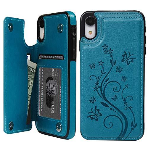 Promixc Handyhülle für iPhone XR Hülle, PU Leder Schutzhülle Handytasche, Flip Case Wallet Kreditkarten Halter Brieftasche Handyhülle mit Ständer Funktion und Magnetic Snap für iPhone XR - Blau -