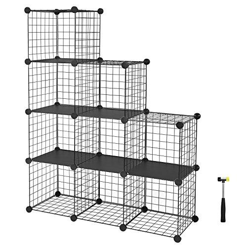 SONGMICS Regalsystem Steckregal individuell aufstellbar 9 Fächer Schwarz aus Drahtgitte 96 x 96 x 31,5 cm (B x H x T) LPI115H Schwarz Metall-zaun