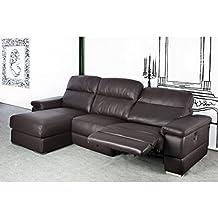 Sofá tres plazas con chaiselongue a la izquierda tapizado en piel natural
