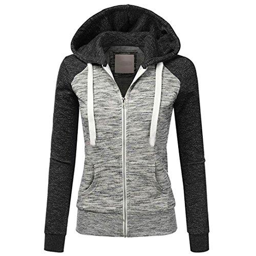 Preisvergleich Produktbild ESAILQFrauen Frühlings Herbst beiläufige lange Hülsen dünne Reißverschluss Kontrast Kapuzenpullis Jacken Mantel