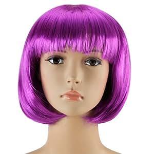 Accessotech Women's Sexy Short Bob Cut Fancy Dress Wigs Play Costume Ladies Full Wig Party Purple