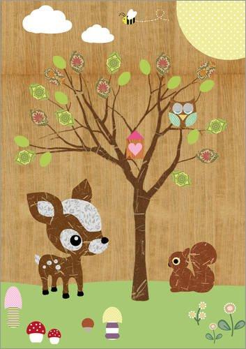 Posterlounge Acrylglasbild 30 x 40 cm: REH mit Eule und Eichhörnchen von GreenNest - Wandbild, Acryl Glasbild, Druck auf Acryl Glas Bild