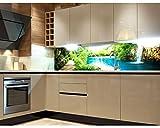 Küchenrückwand Folie selbstklebend ENTSPANNUNG IM WALD 180 x 60 cm | Klebefolie - Dekofolie - Spritzchutz für Küche | PREMIUM QUALITÄT