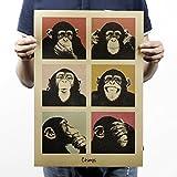 Pinzhi Affiche Rétro De Gorilles Nostalgiques Papier Kraft Antique Bar Décoration Murale, 51.5x36cm