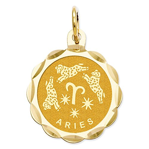 IceCarats Designer Jewellery 14K Satin Polished Engravable Aries Zodiac Scalloped Disc Charm