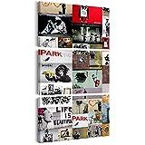 decomonkey Bilder Banksy 60x120 cm 3 Teilig Leinwandbilder Bild auf Leinwand Vlies Wandbild Kunstdruck Wanddeko Wand Wohnzimmer Wanddekoration Deko Graffiti Hipster Retro Polizei AFFE Street Art