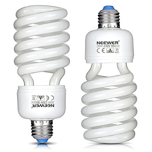 Neewer® Lot de 2ampoules spirales tri-phosphore CFL - 35W - 220V - Lumière du jour 5500K - Culot E27- Pour éclairage de studio photo et vidéo