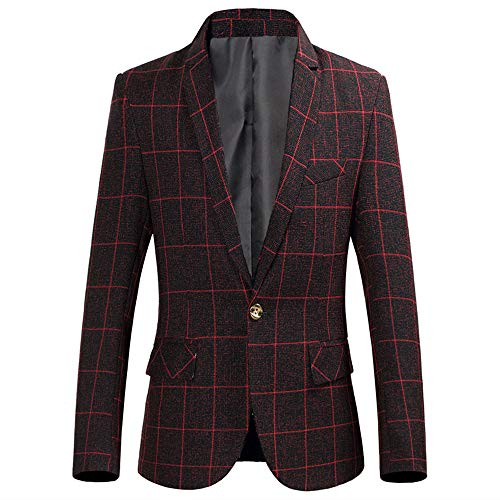 Frashing Herren Sakko Blazer Slim Fit EIN Knopf Elegant Business Anzug Mantel Plaid Print Jacke Blazer Slim Fit Herren Langarm Revers Jacke -