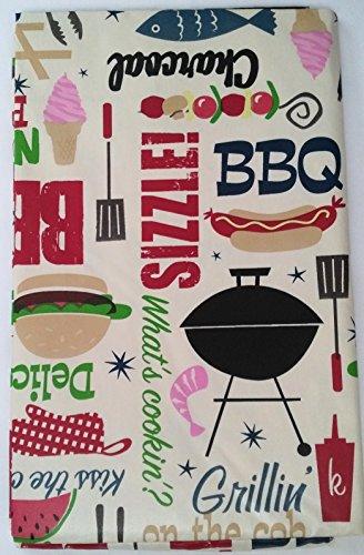Summer Fun BBQ Motto Vinyl Tischdecke auf Hellbraun, Hintergrund mit Flanell Rückseite für Outdoor Oder Indoor 52