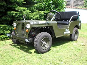 willys jeep nachbau mit 7 ps 110cc starkem benzinmotor automatikgetriebe. Black Bedroom Furniture Sets. Home Design Ideas