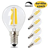BRIMAX E14 G45 LED Vintage Golf Bulb, 4Watt Warm White 2700K Dimmable Chandelier Lamp, Small Edison Screw SES Antique Filament Clear Mini Globe Marqueen Bulb (40W Incandescent Equivalent) 4pack