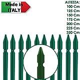 10 PZ Palo paletto in ferro a T 35x35x3,5 mm plastificato verde per rete recinzione metallica TUTTE LE MISURE - MADE IN ITALY ... (H 250 cm)