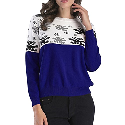 Angelof Pull Col O Femme Hiver Chaud Pull Fine Maille Pull BrodéEs Top Femme Court Fille Femme Chic Manche Longue Motif Graphique Bleu