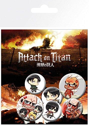 1art1 Set: Angriff Auf Die Titanen, Eren Yeager, Mikasa Ackerman Und Armin Arlert, 4 X 25mm & 2 X 32mm Buttons Button Pack (15x10 cm) Inklusive 1x Überraschungs-Sticker