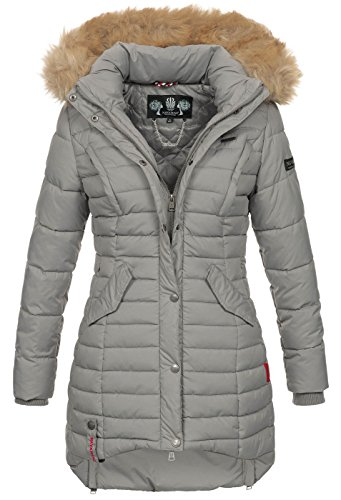 Navahoo Damen Winter Jacke Steppjacke Mantel Parka warm gefüttert gesteppt B640-Taube [B640-Taube-Grau-Gr.S] (Jacke Gesteppte Mantel)