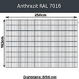 Gittermatte Doppelstabmatte Anthrazitgrau RAL 7016/Höhen 83cm - 203cm x Breite 250cm/Drahtstärke 6/5/6mm/Maschenweite 50 x 200mm (Anthrazit, 163cm x 250 cm)