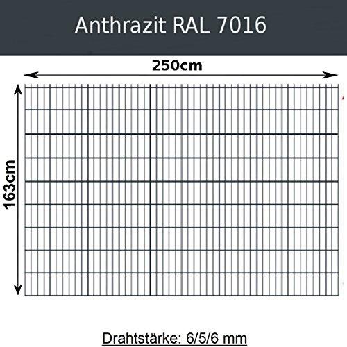 *Gittermatte Doppelstabmatte Anthrazitgrau RAL 7016 / Höhen 83cm – 203cm x Breite 250cm / Drahtstärke 6/5/6mm / Maschenweite 50 x 200mm (Anthrazit, 163cm x 250 cm)*