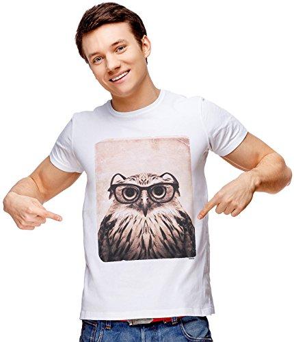 Retreez T-Shirt mit lustigem Aufdruck Nerdy Owl Mugshot - Weiß - Klein -