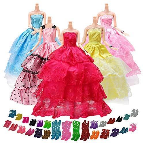 Yomon 5er Pack Kleider & Kleidung für Barbie Puppen mit 20 Paare Schuhe, Modisch Handmade Brautkleider Party Abendkleid für Mädchen Geschenk