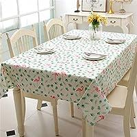 """Gwell rettangolo tessuto Flamingo stampa simil lino tovaglia di panno tovaglia, Cotone, White With Green Leaves, 140CM×180CM( 55""""×70"""")"""