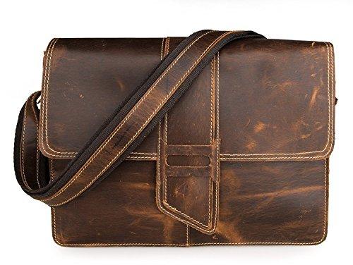 Hermiona Vintage Style Men's Messenger Crazy Horse Leather Shoulder Crossbody Bag Dark grey