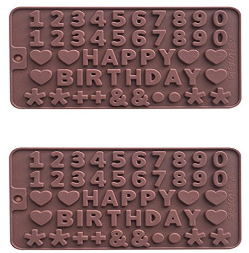 2x Fondant Silikon Zucker Schokolade Buchstaben Alphabet Nummer Candy Making Werkzeugen geformt Kuchen dekorieren coffee