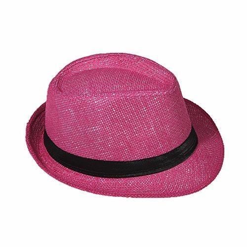 Strohhut Panama Fedora Trilby Gangster Hut Sonnenhut mit Stoffband Farbe:-Pink (Strohhut) Gr:-56