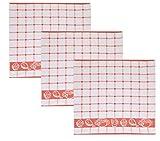 Betz 3 tlg. Küchentücherset GUTEN APPETIT I. Küchenhandtuch Geschirrtuch Frottee Größe:50x50 cm Farbe: rot