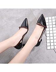 Bomba Tacones D'Orsay Dedo del pie puntiagudo Latino Zapatos OL Sandalias Mujer Moda Dulce Dedo del pie puntiagudo Hueco Hebilla del cinturón Tribunales Zapatos Zapatos De Vestir Zapatos de baile Tama , black , 35