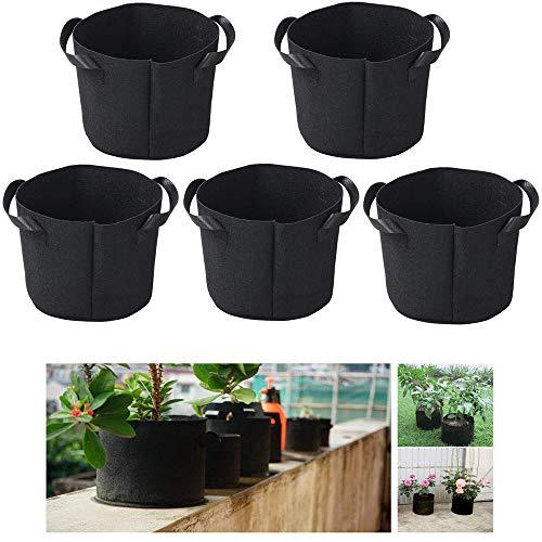 grow bags 5pcs vasi per piante traspiranti borse per piante in tessuto non tessuto con manici per patate pomodori alla fragola frutta vegetale (5 gallon)