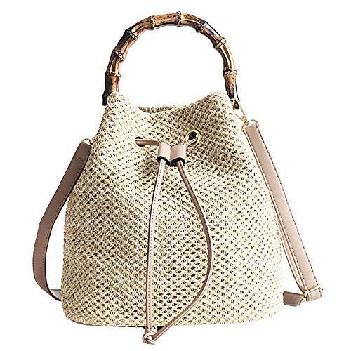 Mega Damen Sommer Strand Beuteltasche Bucket Bag Umhängetasche Handtasche Schultertasche Shopper Henkeltasche mit Kordelzug (Beige) -