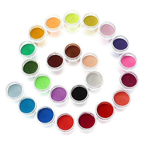 Chenxi Shop 24 couleurs Acrylique Manucure Nail Art Poudre Poussière Décoration