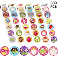 Chuangdi Easter Stickers, Assorted Easter Theme Stickers with Easter Bunny, Egg, Chicks, Daffodil, Frog, Turtle Patterns Sticker Labels for Easter Party Favor, Pack of 6 Rolls (600 Pieces Totally)