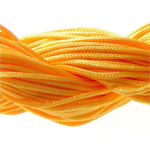 Imagen de cuerda de nailon 13 m cuentas de macramé para pulseras de shamballa 1,5 mm naranja neón