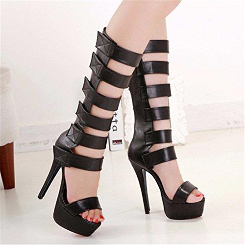 QIYUN.Z Les Femmes D'Ete Gladiator Creux Ouvert Genou Orteil Sandales Hautes Chaussures Talons Aiguilles Romaines Noir