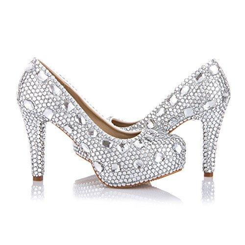 VELCANS Chaussures Strass Talons et Plateforme Escarpins de Mariage, Mariée, Demoiselle d'honneur, Soirée et Homecoming Jours Femmes Argent