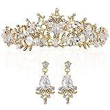 LONGBLE Hochzeit Braut Krone+Ohrringe Gold mit Weiß Prinzessin Tiara,Stirnband Künstlichen Strass schmuck Haarreifen,Geschenk für Damen Geburtstag